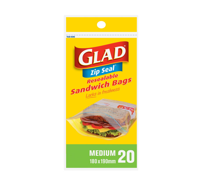 GLAD Zipper Sandwich Bags (1 x 20's)