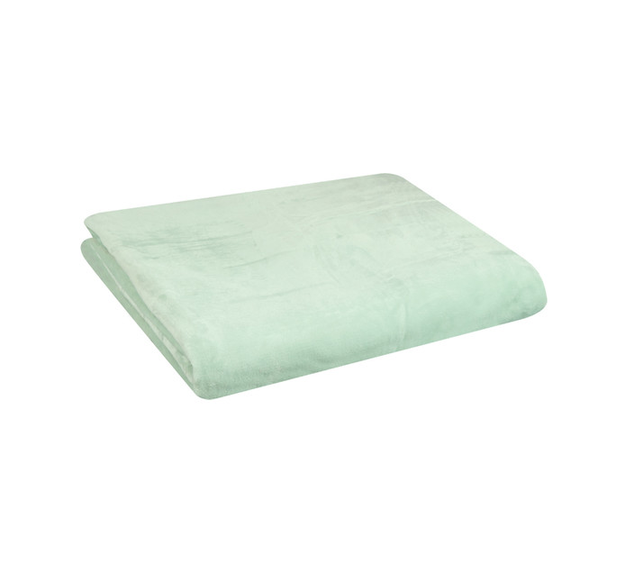 HOME LIVING 210 cm x 240 cm Coral Flannel Throw Light Mint