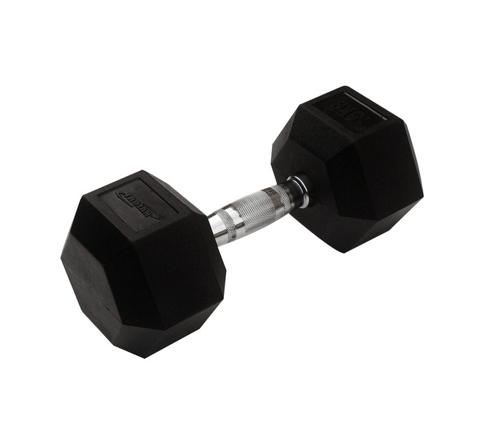 TROJAN 15kg Rubber Coated Hex Dumbbell