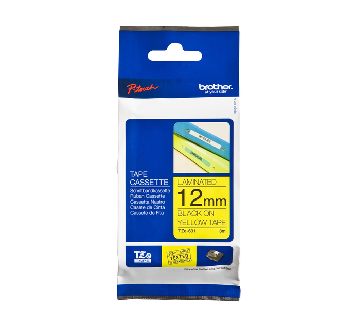 BROTHER 12mm x 8m TZE-631 Black on Yellow 12mm Laminated Tape